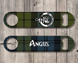 Clan Campbell Bottle Opener, Scottish Tartan Plaid, Scotland Clan Crest Gifts, Personalized Celtic Campbell Barware, Stainless Steel - Alba Forged