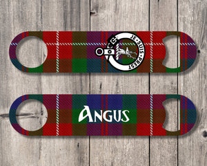 Clan Fraser Bottle Opener, Scottish Tartan Plaid, Scotland Clan Crest Gifts, Personalized Celtic Fraser of Lovat Barware, Stainless Steel - Alba Forged