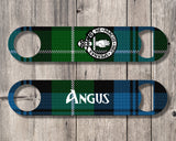 Clan Lamont Bottle Opener, Scottish Tartan Plaid, Scotland Clan Crest Gifts, Personalized Celtic Lamont Barware, Stainless Steel - Alba Forged