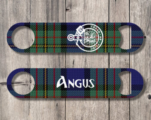 Clan MacLaren Bottle Opener, Scottish Tartan Plaid, Scotland Clan Crest Gifts, Personalized Celtic MacLaren Barware, Stainless Steel - Alba Forged