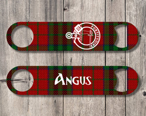Clan MacTavish Bottle Opener, Scottish Tartan Plaid, Scotland Clan Crest Gifts, Personalized Celtic MacTavish Barware, Stainless Steel - Alba Forged