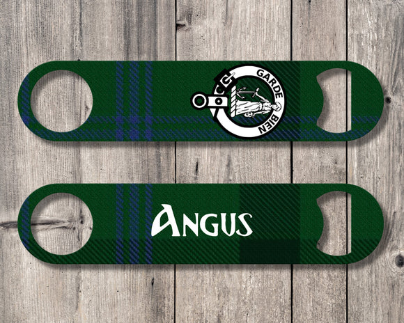 Clan Montgomery Bottle Opener, Scottish Tartan Plaid, Scotland Clan Crest Gifts, Personalized Celtic Montgomery Barware, Stainless Steel - Alba Forged