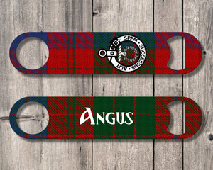Clan Ross Bottle Opener, Scottish Tartan Plaid, Scotland Clan Crest Gifts, Personalized Celtic Ross Barware, Stainless Steel - Alba Forged