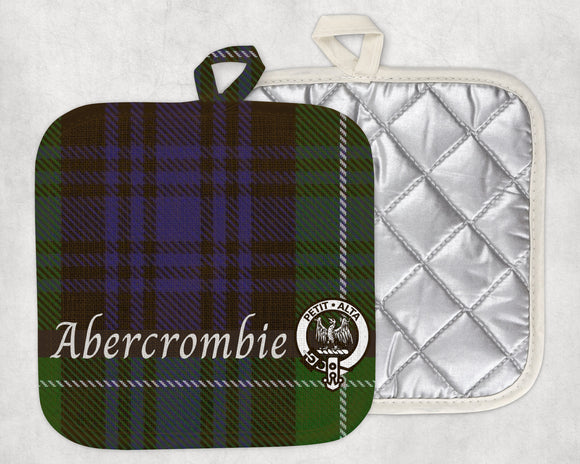 Clan Abercrombie Pot Holder, Scottish Tartan Plaid, Scotland Clan Crest Gifts, Personalized Celtic Kitchen Accessory, Woven Linen - Alba Forged