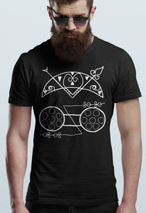 Pictish Z Rod T Shirt, Crescent V Ancient Tribal Symbols, Dark Ages Pict Pagan Druid Stone Carvings, Bronze Age Scottish Celtic Unisex Tee - Alba Forged