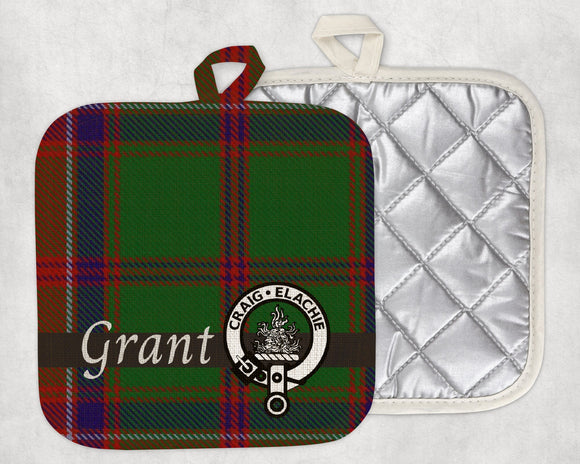 Clan Grant Pot Holder, Scottish Tartan Plaid, Scotland Clan Crest Gifts, Personalized Celtic Kitchen Accessory, Woven Linen - Alba Forged