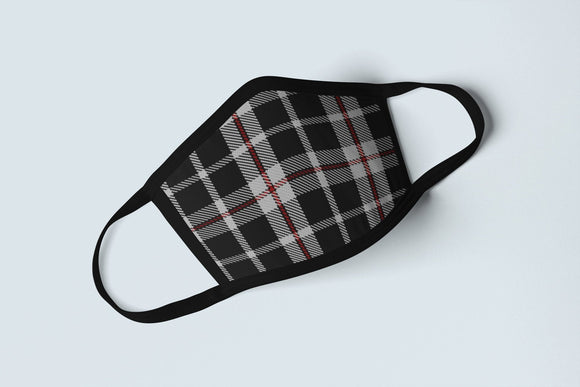 Cornish Flag Tartan Face Mask, Cornwall National Pride Face Covering, Celtic Saint Piran's Plaid Protective Covering - Alba Forged