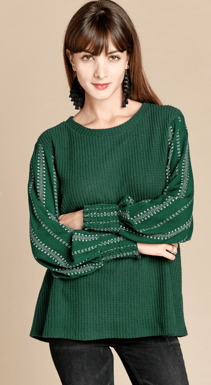 top, waffle knit