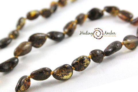 Molasses Olive Speckle ~ Oval ~ 7.5 inches (clasp)