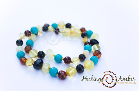 Multi Amber & Turquoise Gemstone ~ 7.5 inches (clasp)