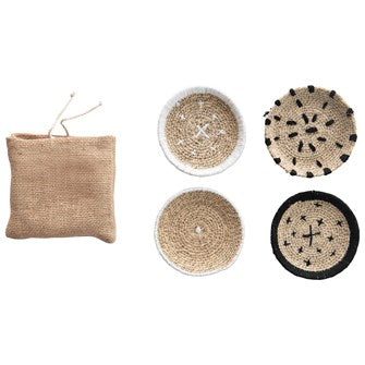 Round Seagrass Coasters with Stitching in Burlap Bag