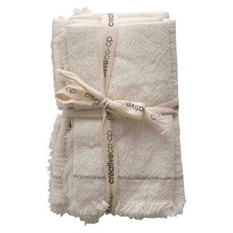 "18"" Square Woven Cotten Napkins with Stitching Detail- Set of 4- Cream"