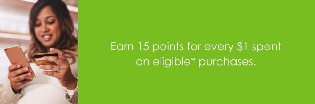 Earn 15 points for every $1 spent on eligible purchases