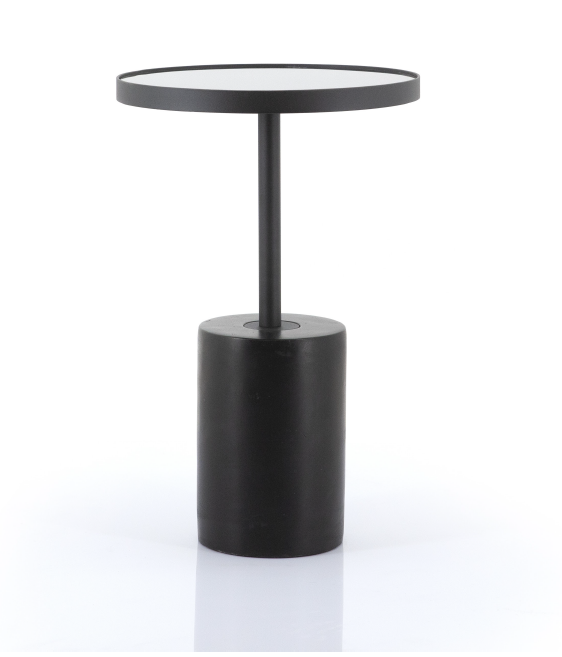 Rounded Pedestal Side Table - Black