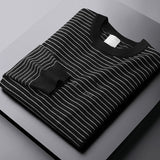 Minglu Autumn Winter Mens Sweaters Luxury Round Collar Casual Stripe Thicken Male Sweaters Fashion Slim Keep Warm Man Sweaters