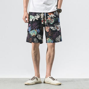 Men's thin section comfortable breathable cotton linen shorts 2020 summer fashion flower printing Japanese loose casual shorts
