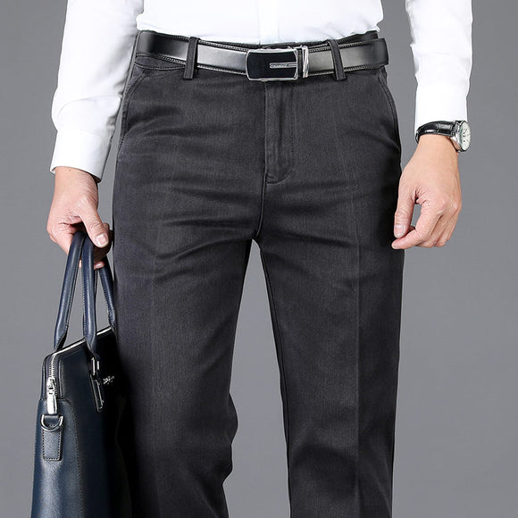 SHAN BAO luxury high-quality comfortable cotton stretch straight slim men's business casual pants spring brand pure trouser Gray