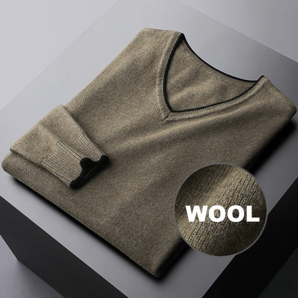 Minglu Wool Mens Sweaters High Quality V Collar Autumn Winter Casual Male Swaters Fashion Slim Fit Solid Color Man Sweaters 3xl