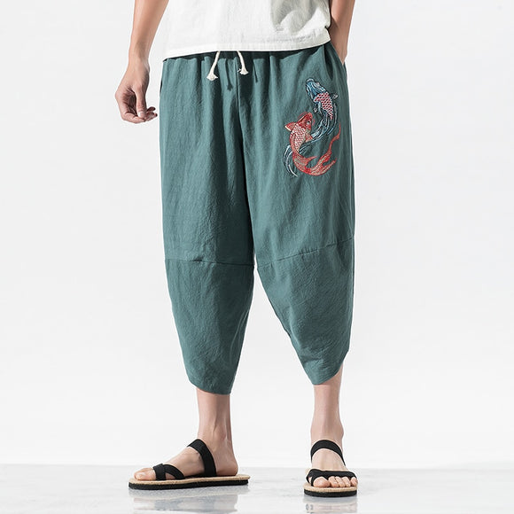 2020 summer new high-quality comfortable cotton harem pants Chinese style fashion carp embroidery loose cropped pants green