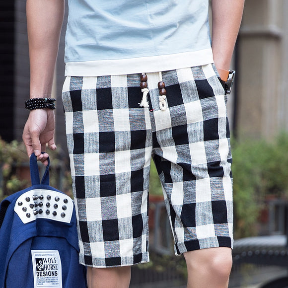 Elastic waist beaded drawstring plaid casual shorts men's 2020 summer new high-quality cotton home fashion straight shorts L-5XL