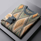 Minglu Contrast Color Sweater Male High Quality Round Collar Jacquard Keep Warm Mens Sweaters Fashion Slim Fit Man Sweaters 5XL