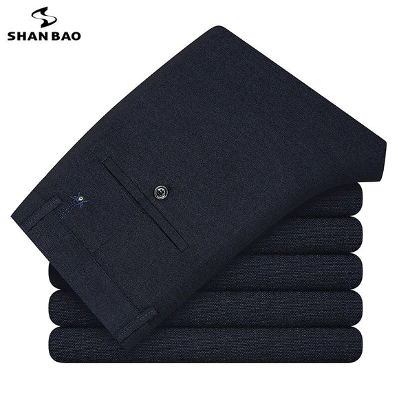 SHAN BAO Classic Embroidered Comfortable Cotton Brushed Men's Fitted Straight Pants 2021 Spring Brand Business Gentleman Pants