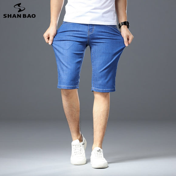 2020 Summer Personality Pocket Letter Embroidery Men Straight Slim Denim Shorts Cotton Elastic Comfortable Fashion Jeans Shorts