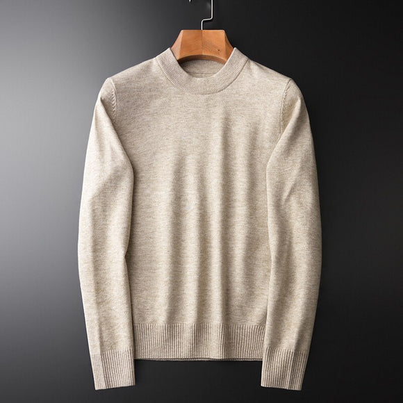 Minglu Thicken Warm Mens Sweater Luxury Solid Color Round Collar Autumn And Winter Sweater Male Fashion Slim Fit Man Sweater 4XL