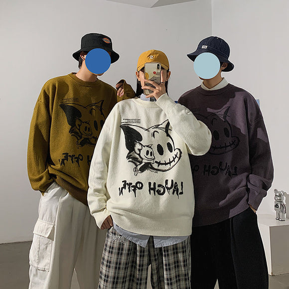 Privathinker 2020 Winter New Couple Sweaters Casual Oversize Men's Pullovers Korean Streetwear Graphic Printed Male Sweater