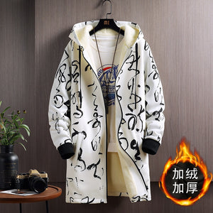 2020 New Autumn Winter Warm Coat Men Velvet Thickening Youth Long Fashion Casual Jacket Plus Size M-5XL Drop Shipping