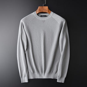 Minglu Soft Computer Knitted Round Collar Pullovers Grey Men's Sweater New Arrival Slim Raglan Sleeve Men's Sweater M 2XL 3XL