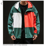Privathinker 2020 Man New Windbreaker Jackets Mens Harajuku Zipper Hat Jackets Male  Autumn Patchwork Oversize Casual Jacket