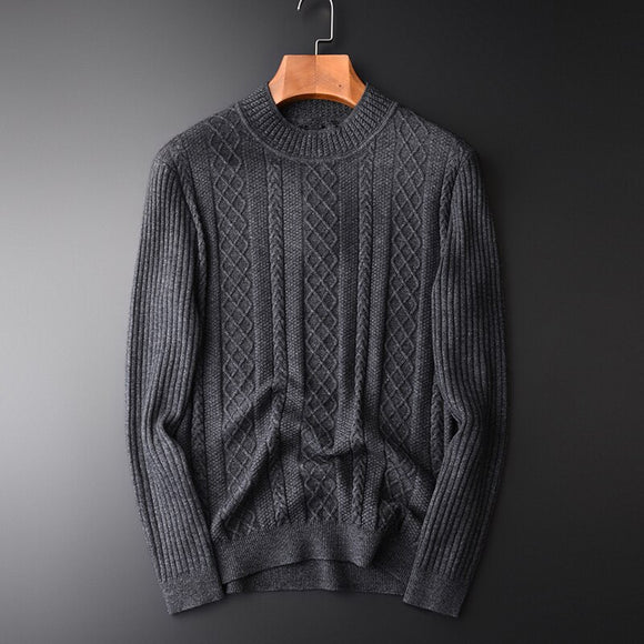 Minglu Argyle Sweater Men Luxury Wool And Rabbit Hair Mink Cashmere Mens Sweaters Plus Size Half Turtleneck Sweater Man Winter