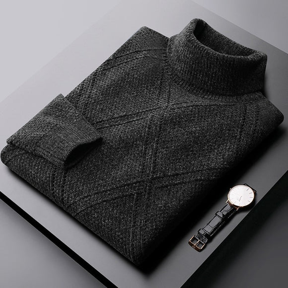 Minglu Autumn And Winter Mens Sweater Luxury Turtleneck Solid Color Chenille Sweater Male Fashion Slim Fit Man Sweater 2XL