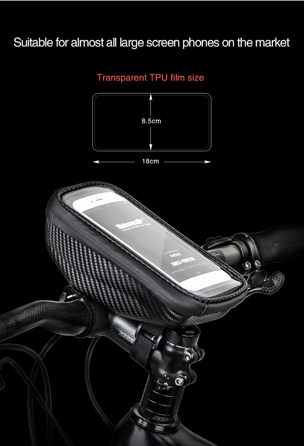 Bicycle holder for Smartphones, Rhinowalk 6.5inch Mobile phone holder Bicycle Handlebar Bag