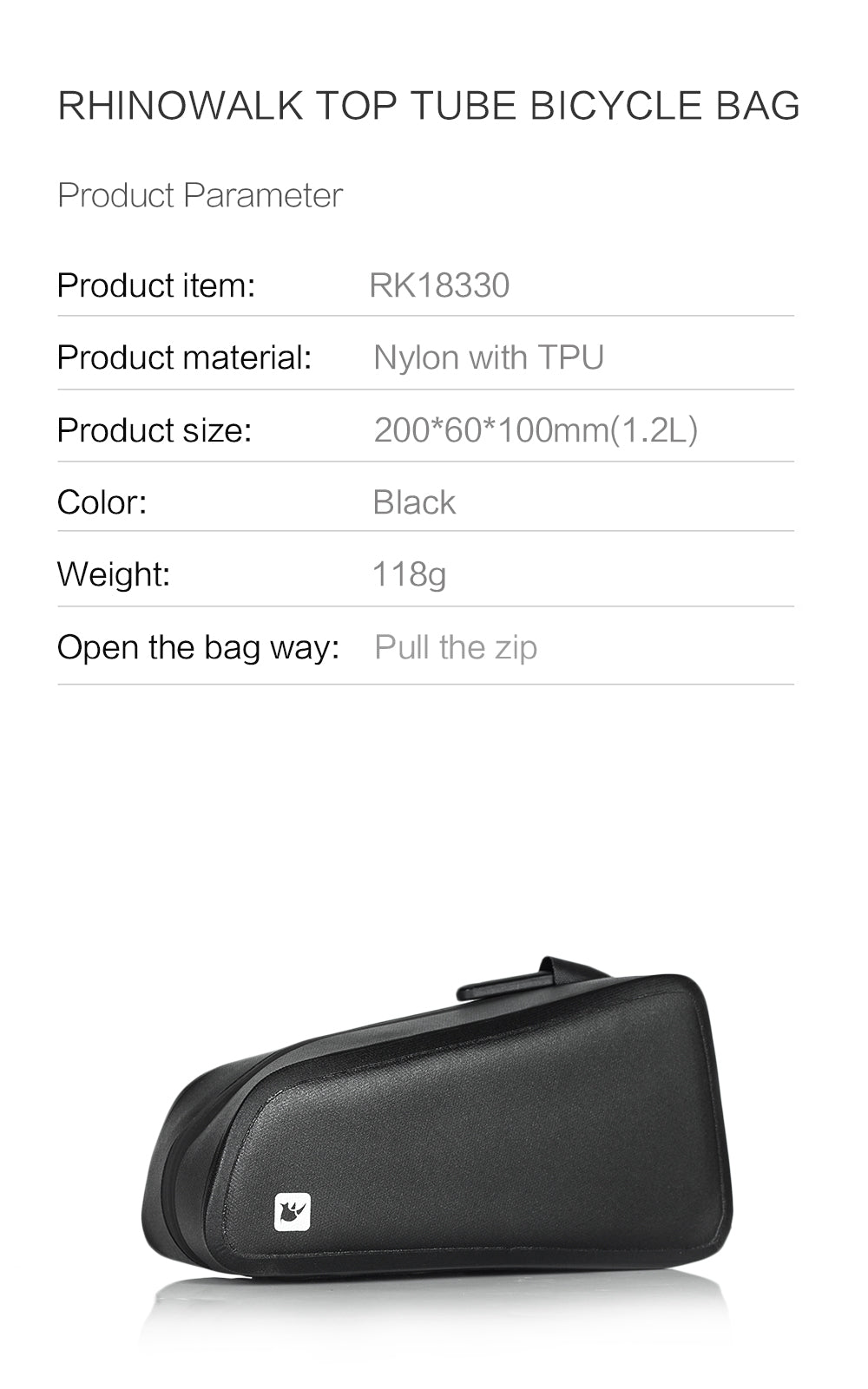 Rhinowalk Bike Bag 1.2L Bike Top Tube Bag Bike Frame Bag Waterproof and Stable Bicycle Frame Bag Bicycle Bag Professional Cycling Accessories