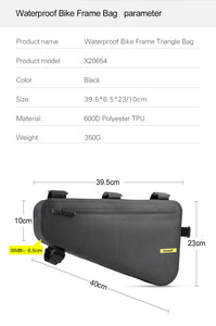 Rhinowalk Bike Frame Bag 4L Waterproof  Bicycle Triangle Bag Packing Under Top Tube Bag for Road Mountain Cycling