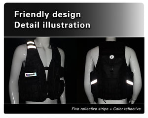 Rhinowalk Cycling Vest Sleeveless Jacket with Reflective Stripe and Helmet Cover for Outdoor Fishing, Hiking, Hunting