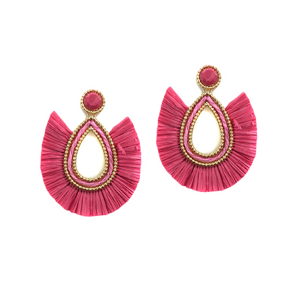Bishop Boutique Teardrop Raffia Earring