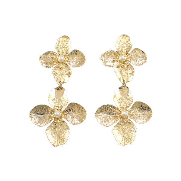 Bishop Boutique Gold Double Flower Earring
