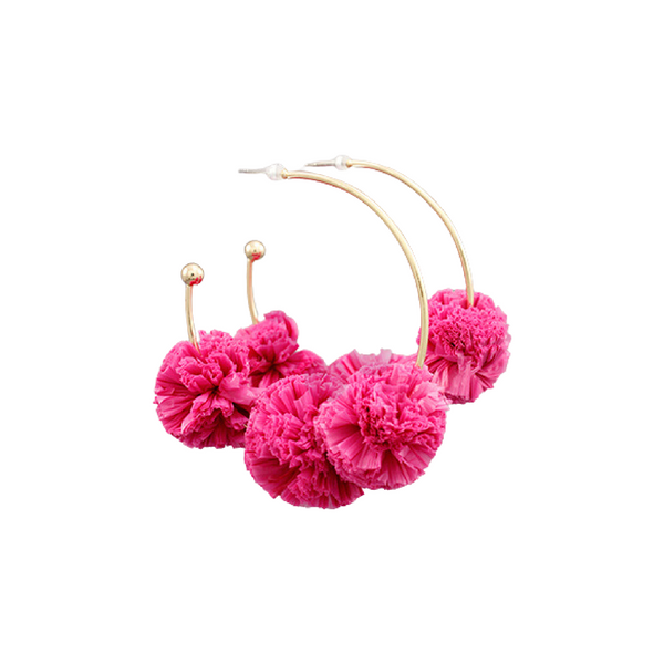Bishop Boutique Raffia Ball Earring