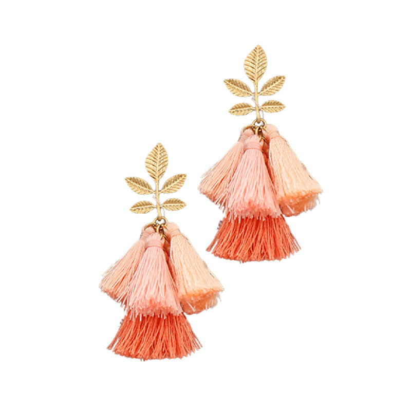 Bishop Boutique Leaf Tassel Earring