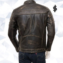 Load image into Gallery viewer, Mens Vintage Distressed Brown Real Leather Four Pocket Jacket