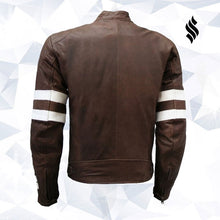Load image into Gallery viewer, Unique Vintage Look Distressed Men Brown Leather Jacket
