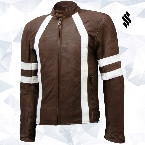 Unique Vintage Look Distressed Men Brown Leather Jacket