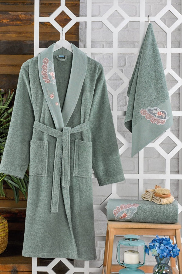 Unisex Green 3 Piece Embroidery Detailed Bathrobe Set