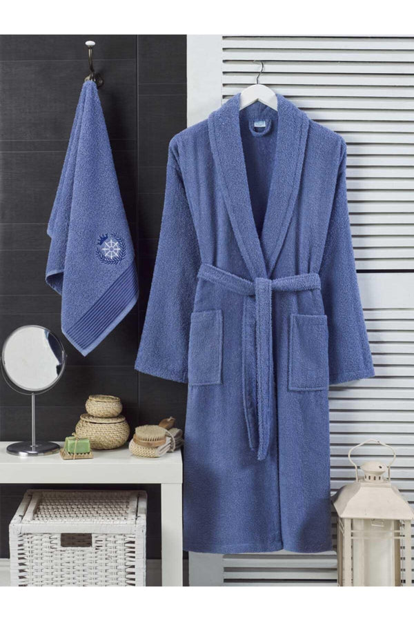 Unisex Navy Blue Towel Bathrobe Set of 2