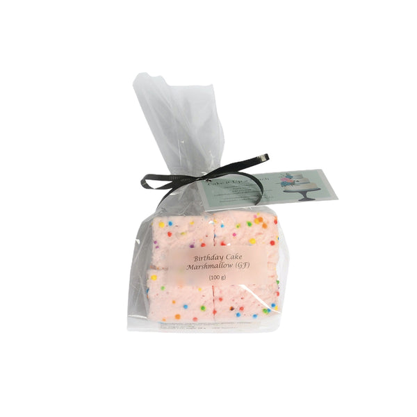 cellophane packaged pink marshmallows with sprinkles