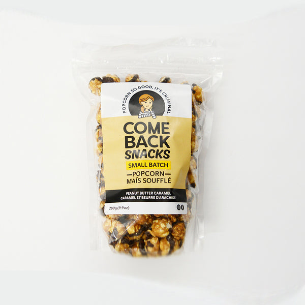 Bag of caramel popcorn with Comeback snacks logo and packaging