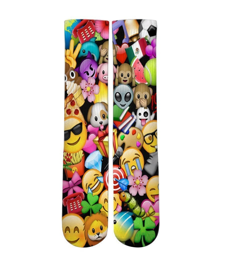 Emoji icon mash up Elite printed crew socks - DopeSoxOfficial